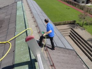 Window cleaning solar cells